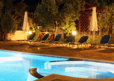 Pool at night razi beach apartments